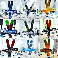 Ski themed centerpieces