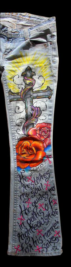 Custom jeans(Jesus,christian,fish,cross,scripture,bible verse,roses,flowers,tattoo,wearable art ,unique,gift)