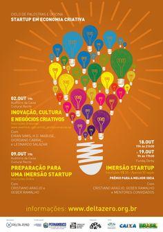 """PALESTRAS E OFICINA """"STARTUP EM ECONOMIA CRIATIVA"""", acontece dia 02/09 às 19h na Caixa Cultural (Recife Antigo). #design #recife #startups  Inscrições gratuitas: http://www.eventick.com.br/idz_profissionalizacao"""