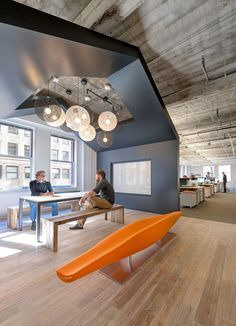 One of a kind furniture and lighting could immediately amp up the atmosphere of a workplace. Mixing all these together could then make your place a good spot to work in.