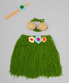 Look at this Adorable Me XO Green Luau Grass Skirt Set - Infant on #zulily today!