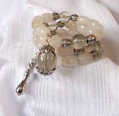 White Jade and Glass Bead Memory Wire Bracelet by JenagiJewelry, $15.99