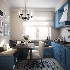 Having small living room can be one of all your problem about decoration home. To solve that, you will create the illusion of a larger space and painting your small living room with bright colors c… Small Living Room Layout, Blue Living Room Decor, Kitchen Living, Kitchen Small, Small Living Room Kitchen Ideas, Cozy Kitchen, Eat In Kitchen, Kitchen Decor, Kitchen Interior