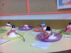bonecos de neve em grupo...