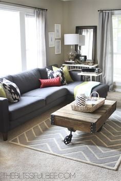 Living Room Makeover On The Blissful Bee Love Couch Rug And Wall Color