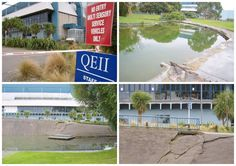 A montage of QEII park after the 2011 earthquakes, Christchurch, New Zealand.