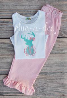 Personalized Deer Shirt + Coordinating Bottoms