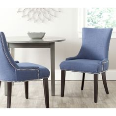 Safavieh Lester Light Denim Blue Chair (Set of 2) | Overstock.com Shopping - The Best Deals on Dining Chairs