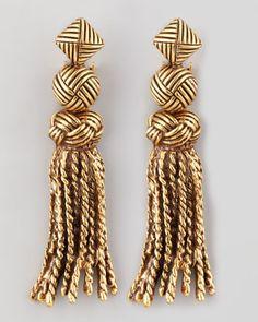 Oscar de la Renta Tassel-Knot Earrings