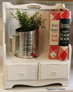 Garage Sale Recipe Book Shelf via OrganizedClutter.net