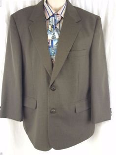 Haband Executive Division Sport Coat 42S Polyester Vented 2 Button Mens Blazer #Haband #TwoButton