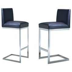 HS Bar Stool.              Minimalist design and impeccable detailing define the HS Bar Stool. The joined seat and back, traced by welting, are precisely perched on a C-shaped, continuous metal frame base.