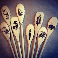 Woodburned spoons fruits n veggies | Explore suemadethat's p… | Flickr - Photo Sharing!