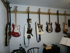 Hang Guitar On Wall hang guitars on a strip of wood, and attach to your wall | music