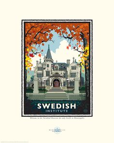 Landmark Series MN American Swedish Institute by NumericPress Mn Artists, Small Icons, Saturated Color, Pigment Ink, Vintage Art, Framed Art, Giclee Print, Graphic Art, Minnesota