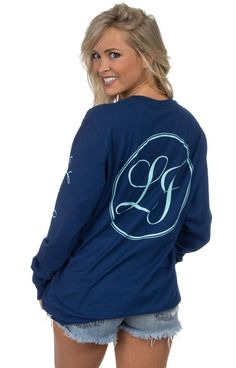 Estate Blue - Lauren James Signature Sleeve Print - Long Sleeve Back