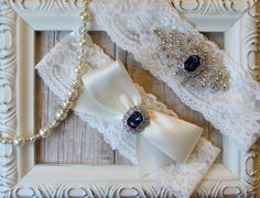 Vintage Wedding Garter Set with Sapphires and Rhinestones on Comfortable Ivory Lace, Bridal Garter Set, Crystal Garter Set, Something Blue $23.95