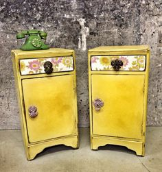 VINTAGE RETRO PAIR OF BEDSIDE TABLES CUPBOARDS shabby Chic Annie Sloan Paint