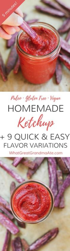 Healthy homemade paleo ketchup is so easy to make, and you'll also love the 9 flavor variations that take seconds to come together! For a while, I stopped eating store-bought or restaurant ketchup because the Paleo Ketchup, Homemade Ketchup, Dairy Free Recipes, Paleo Recipes, Gluten Free, Easy Recipes, Paleo Whole 30, Whole 30 Recipes, Paleo Sauces