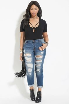 Plus Size Distressed Jeans #forever21plus