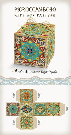 Printable digital MOROCCAN BOHO Gift BOX pattern, do it yourself wedding favor box collage sheet, instant download. ArtCult designs