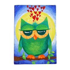 Acrylic Canvas WHOOO LOVES YOU 5x7 Romantic Art Home by nJoyArt, $35.00