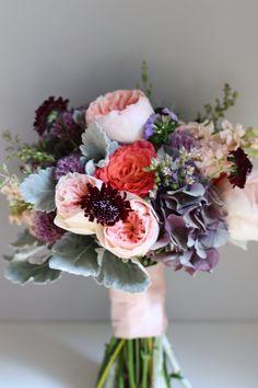 purple coral and peachy tones bridal bouquet, by Blush Floral Design Purple Wedding, Floral Wedding, Wedding Flowers, Wedding Colors, Plum Flowers, Bouquet Flowers, Chic Wedding, Summer Wedding, Rustic Wedding