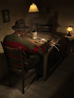 Retired Villain Freddy Krueger from the series Horror Vacui by Federico Chiesa. Horror Villains, Horror Movie Characters, Horror Movies, Slasher Movies, Horror Fiction, Michael Myers, Freddy Krueger, Robert Englund, Horror Icons