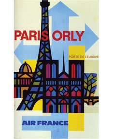 Paris-Orly for Air France c1962- Design & Illustration by Jaques Nathan Garamond