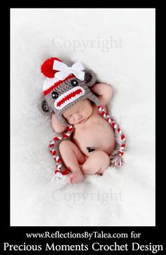 3700c09af96b Sock Monkey Beanie Hat Baby Crocheted Unique Photo Prop Select Your Size.   25.00