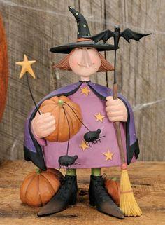 Girl Dressed as a Witch for Halloween Figurine - Halloween Folk Art & Collectibles – Williraye Studio $37.00