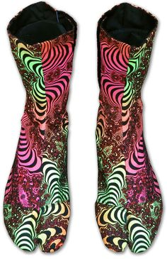 original UV Ninja Boots von Space Tribe Hippie Goa Schuhe Psy Art Tabi Stiefel 2