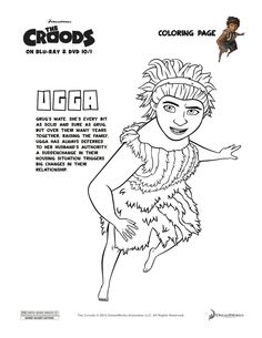 The Croods 'Ugga' Coloring Page  Enter to win a Blu-Ray/DVD & Belt Plushie Combo Pack - Ends 10/31/13!  http://lynchburgtnmama.com/the-croods-indoor-adventure-party-thecroodsdvd-giveaway-ends-1031/