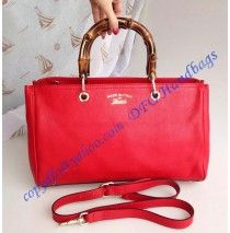 Gucci Bamboo Shopper Leather Tote Red