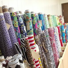 15' of wonderful fabric storage for our Modern June and Oilcloth Addict bolts.