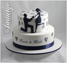 Simple fondant 2 tier cake , adorable proposal with hearts