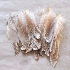 Dip feathers in gold paint and/or glitter to create gorgeous decor / jewelry / ornaments etc. Featuring 2 Tutorials. (photo via Frankie)