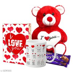 Accessories Delight Gifts(Pack Of 4)  Material: Mug - Ceramic Greeting Card - Paper Teddy Bear - Imported Size : Greeting Card : A4 Teddy Bear - 6 in           Capacity : Mug - 325 ml Description: It Has 1 Piece Of Mug & 1 Piece Of Greeting Card & 1 Piece Of Teddy Bear & 2 Pieces Of Chocolate Work : Mug - Printed Greeting Card - Printed Country of Origin: India Sizes Available: Free Size   Catalog Rating: ★4.1 (1537)  Catalog Name: Delight Gifts Combo Vol 8 CatalogID_161917 C127-SC1621 Code: 563-1274368-348