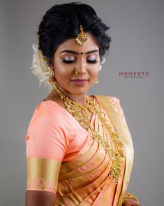 Image may contain: 1 person, closeup Tamil Wedding, Saree Wedding, Wedding Bride, Bridal Sarees, Bridal Makeup Images, Indian Bridal Makeup, Bridal Beauty, Wedding Looks, Bridal Looks