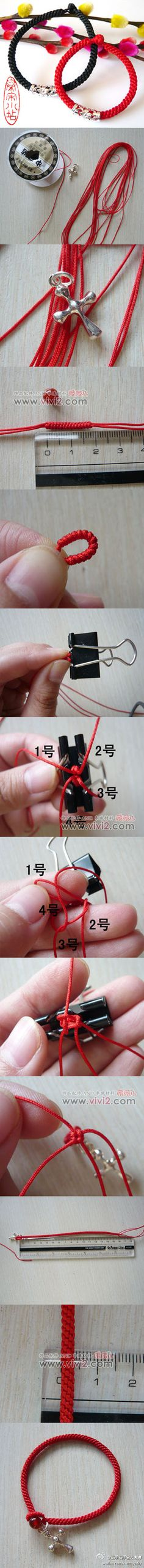 Manual diy# red line hand rope of weave tutorial