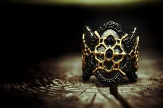 PAKIN:Gold Baroque Ring,925 Sterling silver,Black Rhodium,Gold Hand Painted 18k. www.assemblage.me #pakin #pakinsince2012 #assemblage #modern #antique #gothic #baroque #warrior #knight #cross #lord #hobbit #men #lady #gay #metrosexual #style #model #fashion #unique #l