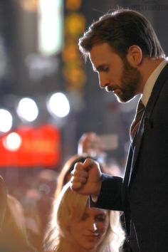 "Chris Evans at LA premiere of CATWS [in the background the strains of ""You Are So Beautiful"" plays]"
