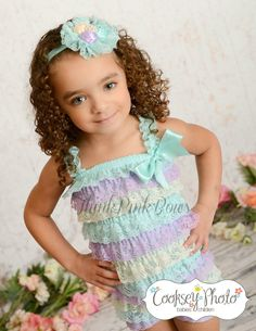 Petti Lace Romper and Baby Headband SET in Spring Colors
