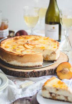 Peach Swirl Cheesecake with Pecan Crust