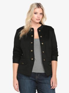 Plus Size Military Jacket in black