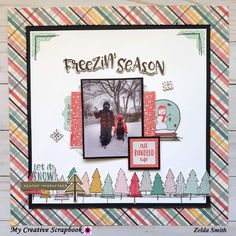 Freezin' Season❄️ created by using the January Main Kit from featuring Christmas Scrapbook Layouts, Scrapbook Page Layouts, Scrapbook Pages, Scrapbooking Ideas, 3d Paper Crafts, Scrapbook Paper Crafts, Simple Stories, Cardmaking, Christmas Cards