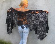 The most elegant color - black is black - Women Accessories Crochet shawl Crochet Scarves, Crochet Shawl, Knit Crochet, Off Shoulder Blouse, Lace Skirt, Black Women, Women Accessories, Etsy, Amethyst