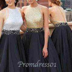 Unqiue design dark grey satin stain long prom dress with sequins top, ball gown,evening dress 2016 #coniefox #2016prom