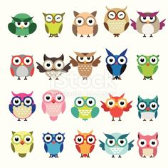 Set of owls isolated on white background royalty-free set of owls isolated on white background stock vector art & more images of owl