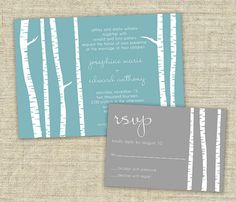 SAMPLE SET Birch Trees Wedding Invitation by DesignsbyAdj on Etsy, $3.50